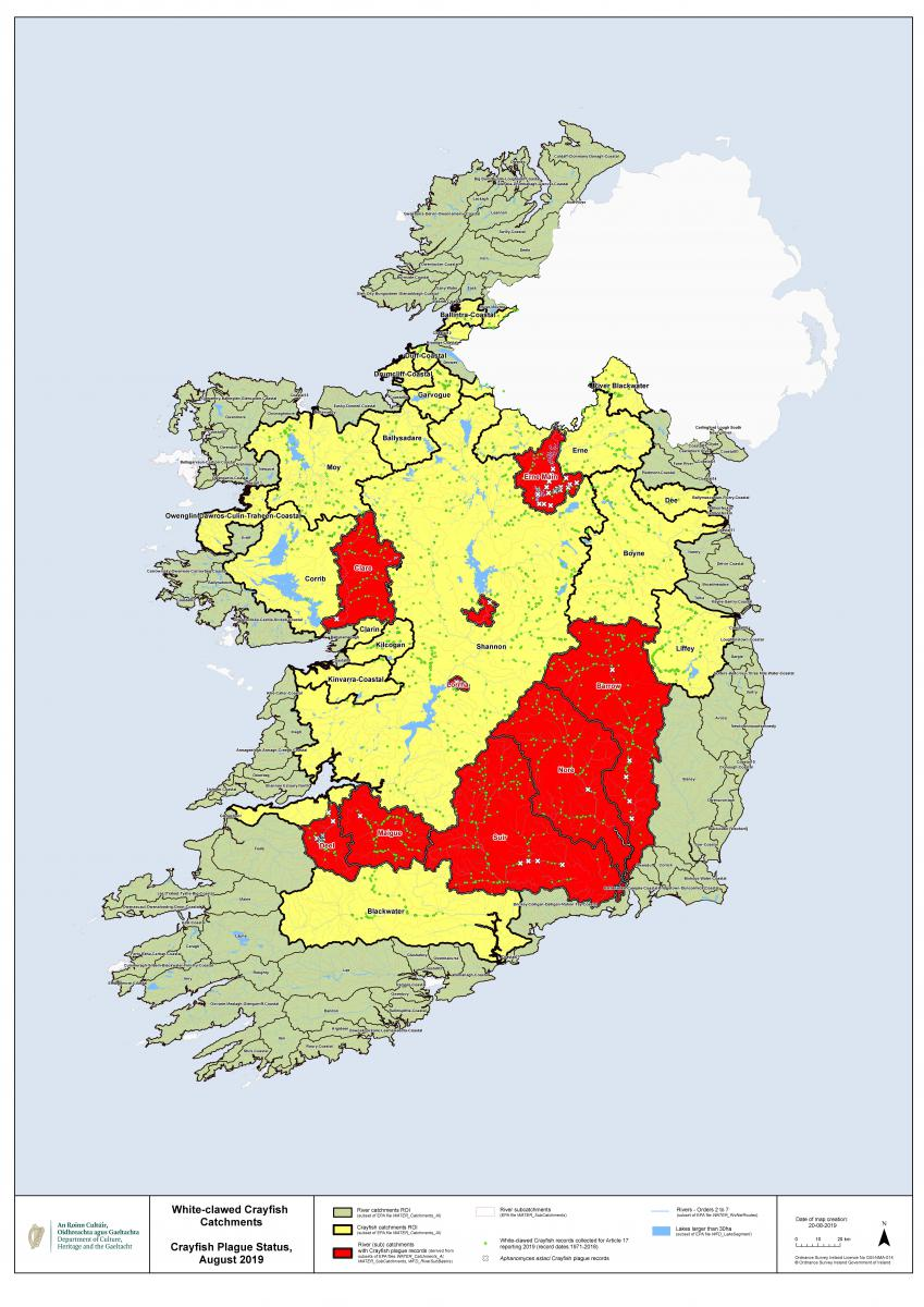 Map of Crayfish Plague infected river catchments 20-08-2019. Click the map to download a full resolution version (3.3MB .pdf)